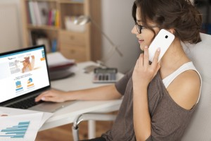 Young woman working in home office
