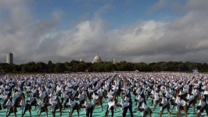 On June 21st 2015, 35,985 people were gathered for the first International Yoga Day in India.